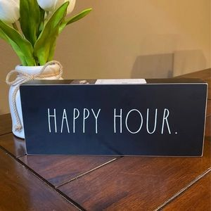 Rae Dunn Black Happy Hour Double Sided Sign